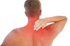 有肌肉的人脖子疼痛 免版税库存图片