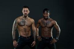 有肌肉被刺字的躯干的强壮男子看起来有吸引力,黑暗的背景 确信的面孔的运动员与裸体肌肉 库存图片