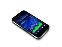 有股市图的手机在白色 免版税库存照片