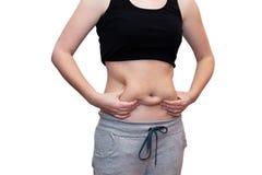 有肥胖腹部的妇女 库存照片