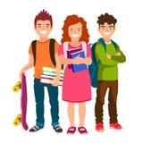 有背包、书和滑板的学生 向量例证