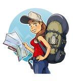 有背包和地图的旅游女孩 免版税库存照片