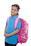 有背包的学校女孩 免版税库存图片