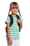 有背包的小女孩 免版税库存图片