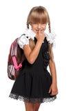 有背包的小女孩 库存照片