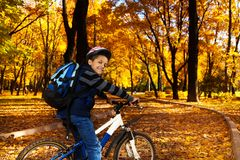 有背包的男孩在自行车 库存图片