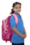有背包的美丽的学校女孩 免版税库存图片