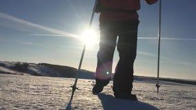 有背包的走在雪靴的一个冬天风景的人剪影  迁徙与远足杆,天空蔚蓝和 股票视频