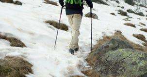 有背包的远足者人走在多雪的足迹道路的 跟随在腿细节后 步行真正的背包徒步旅行者人的成人或 股票录像