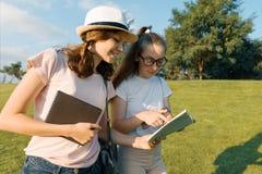 有背包的,书两个年轻女学生去以绿色草坪,公园为背景 免版税库存图片