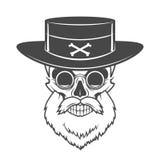 有胡子、帽子和玻璃的顶头猎人头骨 免版税库存照片