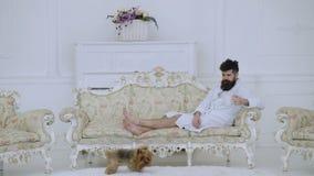 有胡子和髭的人享受早晨,当坐豪华沙发时 精华休闲概念 梦想的面孔的人 股票录像