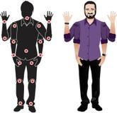 有胡子字符的人在衬衣,有分开的联接的玩偶 图库摄影