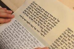 有胡子文字的犹太人在羊皮纸纸卷 被拍的照片:2015年12月30日, 免版税库存图片