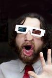 有胡子的人3D玻璃 免版税图库摄影