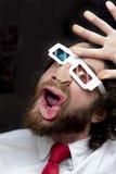 有胡子的人3D玻璃 免版税库存照片