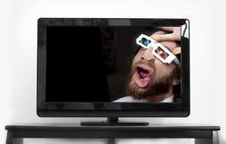 有胡子的人3D玻璃 库存照片
