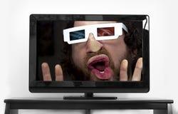 有胡子的人3D玻璃 免版税库存图片