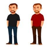有胡子的凉快的动画片人 库存照片
