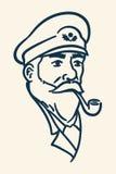 有胡子的小船上尉烟斗例证 免版税库存照片