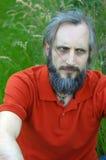 有胡子的恼怒的人在绿色背景中坐晴天, potrait 库存照片