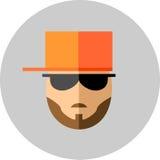 有胡子的时兴的在太阳镜的人和髭和bas 免版税图库摄影
