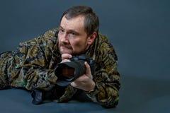 有胡子的照相机人 免版税图库摄影