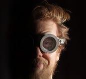 有胡子的玻璃人游泳 库存图片