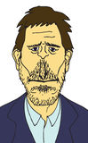 有胡子的讽刺画人树桩 免版税库存图片