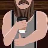 有胡子的运动的英俊的人爱和饮料 向量例证