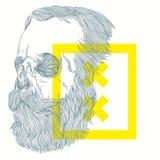 有胡子的头骨的例证 免版税库存照片