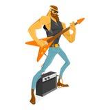 有胡子的Rockstar吉他弹奏者弹吉他 免版税库存图片