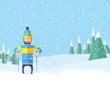 有胡子幻灯片的人在雪途中 免版税图库摄影