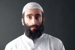 有胡子画象的阿拉伯回教人 免版税库存照片