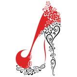 有脚跟的妇女的鞋子仿造与从花 免版税库存图片