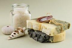 有腌制槽用食盐的自然有机肥皂在绿色背景 免版税库存照片