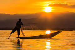 有腿划船的渔夫在日落期间,缅甸的inle湖( 免版税库存图片