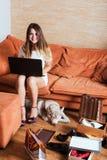 有膝上型计算机、购物袋和多壳的小狗的女性在客厅 库存照片