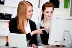 有膝上型计算机和计算机的女实业家 库存图片
