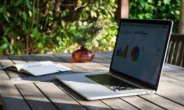有膝上型计算机在大阳台,笔记本有分析图表的和罐的工作场所花 免版税图库摄影