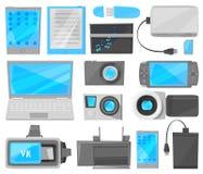 有膝上型计算机或片剂智能手机或电话电子设备显示和照相机的小配件传染媒介数字式设备  向量例证
