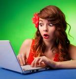 有膝上型计算机的妇女 免版税库存照片