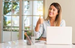 有膝上型计算机的年轻美丽的学生妇女在桌上,在家 图库摄影