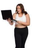 有膝上型计算机的惊奇的肥胖运动的妇女 库存照片