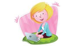 有膝上型计算机的愉快的女孩 库存照片