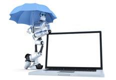 有膝上型计算机的机器人在伞下 数字式保护概念 查出 包含裁减路线 免版税库存照片