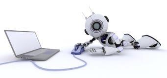 有膝上型计算机的机器人 库存图片
