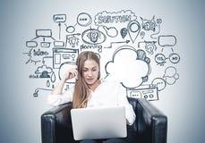 有膝上型计算机的白肤金发的妇女,经营计划 库存图片