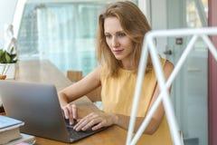 有膝上型计算机的繁忙的俏丽的妇女 库存图片