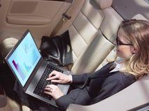 有膝上型计算机的繁忙的女实业家 免版税库存照片